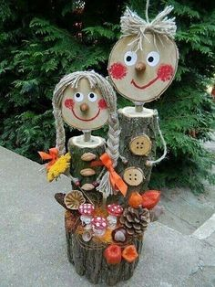 Nature Crafts, Fall Crafts, Diy And Crafts, Crafts For Kids, Christmas Decorations To Make, Christmas Crafts, Christmas Ornaments, Christmas Tree, Wood Log Crafts