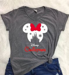 Disney SNOWFLAKE CASTLE in RED Christmas V-neck shirt, Ladies Christmas shirt, Disney Christmas shirt, Disney inspired, winter wonderland Disney Christmas Shirts, Disney Shirts, Disney Outfits, Disney Clothes, Disney Costumes, Disney World Trip, Disney Vacations, Disney Trips, Disney 5k