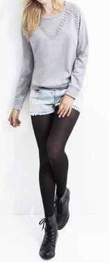 Denim Shorts with Tights & Boots.  hmm this would work with some of those super short shorts I own...