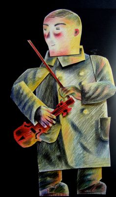 """""""Joseph and his Violin"""" by Clive Hicks-Jenkins from his animation of Stravinsky's """"The Soldier's Tale"""" Project Ideas, Art Projects, Violin, Guitar, Green Knight, Shadow Puppets, Orchestra, All Art, Painters"""