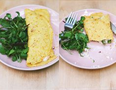 socca (chickpea flour) crepe with asparagus shiraae