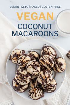 These vegan coconut macaroons are a delicious and nutritious dessert or snack that is keto paleo and gluten-free! Free of eggs dunked in chocolate and ready in just 30 minutes these macaroons are sure to be a hit! Gluten Free Desserts, Vegan Desserts, Gluten Free Recipes, Low Carb Recipes, Real Food Recipes, Dessert Recipes, Easy Recipes, Vegan Recipes, Paleo Cookie Recipe
