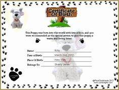 Puppy Birth Certificate Template Free New Printable Puppy Birth Certificate Template Tattoos Birth Certificate Template, Adoption Certificate, Dog Training School, Dog Training Classes, Dog Birth, New Puppy Checklist, Dog School, Pregnant Dog, Birth Records