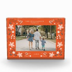 Floral Frame Holiday Photo Block - anniversary gifts ideas diy celebration cyo unique