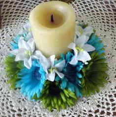 Mira este artículo en mi tienda de Etsy: https://www.etsy.com/listing/264040145/candle-ring-6-with-gerbera-daisy-aqua