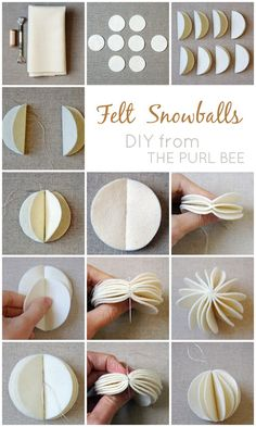 diy felt snowballs...I'm thinking different colors and hanging from ceiling or a garland