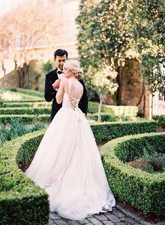 Wedding Dress: Modern Trousseau - http://www.moderntrousseau.com/portfolio_page/adore/ Photography: Marissa Lambert - marissalambertphotography.com   Read More on SMP: http://www.stylemepretty.com/2017/03/09/secret-rose-garden-wedding-styled-shoot/