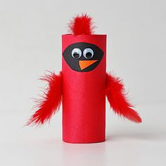Cardboard Tube Cardinal from Crafts by Amanda - 51 Toilet Paper Roll Crafts