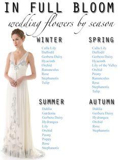 Flores para el ramo según la estación del año