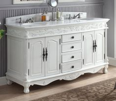 """63"""" Antique White Classic Double Sink Florence Bathroom Sink Vanity model # HF-036XLW-AW"""