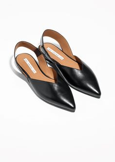 Other Stories image 2 of Sling-back Leather Flat in Black