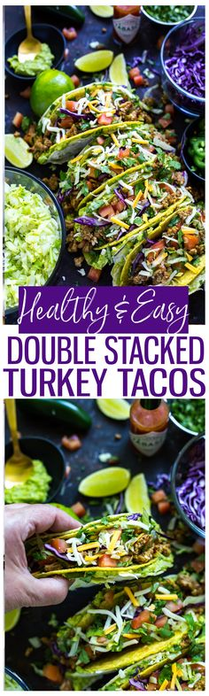 Healthy Double Stacked Turkey Tacos are a fun gluten-free meal idea! Place a hard taco shell inside a soft corn tortilla layered with guacamole and all the fixings!