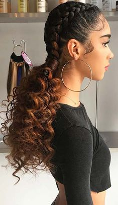 Two Braid Hairstyles, Cute Curly Hairstyles, Baddie Hairstyles, Girl Hairstyles, Curly Haircuts, Black Girl Prom Hairstyles, Birthday Hairstyles, Protective Hairstyles, Afro Hair Style