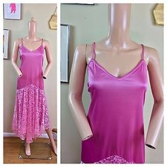 Vintage 70s JC Penney Party Prom Rose Pink Lace Drop Waist Plus Size Dress XL