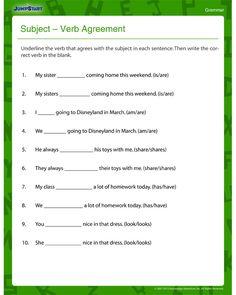 Subject – Verb Agreement – Fun and Printable Third Grade Grammar Worksheet