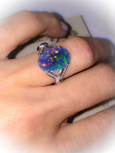 Natural Black Opal Ring 18k White Gold