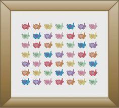 Rainbow Love Bunnies Rabbit Cross Stitch Pattern Instant