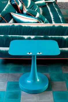 Paola Navone's Vulcano table for Poliform is molded and lacquered polyurethane. Paola Navone, Kelly Hoppen, Interior Decorating, Interior Design, Beach Club, Shades Of Blue, Decoration, Upholstery, Armchair