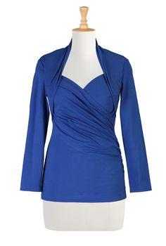 Cotton Knit Tees, Royal Blue Unique Tees Women's designer fashion - Shop womens short sleeve tops - Discover the latest in Ladies Fashion, Tops, Tunics, Shirts - | eShakti