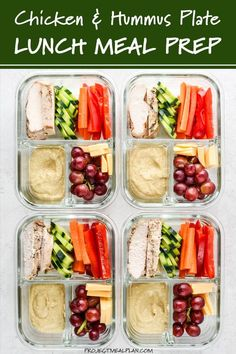 This Chicken & Hummus Plate Lunch Meal Prep is so simple yet incredibly delicious! Get back to basics with some fresh cut bell pepper carrot cucumbers paired with a perfect portion of chicken breast cheese slices and grapes for a touch of sweetness. Lunch Recipes, Healthy Recipes, Keto Recipes, Healthy Meals, Meal Prep Recipes, Summer Lunches, Healthy Lunches For Work, Work Lunches, Lunches On The Go