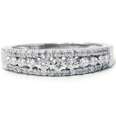 1/3CT Diamond Anniversary Ring 14K White Gold Womens by Pompeii3, $299.00
