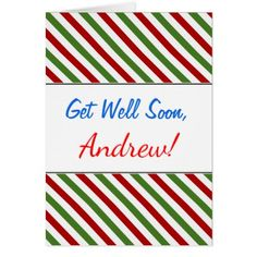 Get Well Soon  Red White & Green Striped Pattern Card - pattern sample design template diy cyo customize
