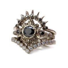 Luna Valkyrie Black and White Diamond Moon Engagement Ring Set