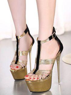 T-Strap Color Block Stiletto Heel Sandals
