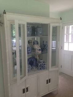 Faux bamboo cabinet Bamboo Cabinets, Faux Bamboo, Chinoiserie, China Cabinet, Painted Furniture, Home Office, Sun, Storage, Home Decor