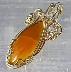 Original Philip Crow 14Kt Gold Pendant  Simbircite by PhilipCrow -Wire Wrapped -