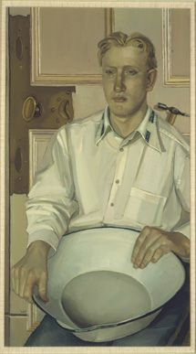 An Allison Watt portrait of a man with wash basin
