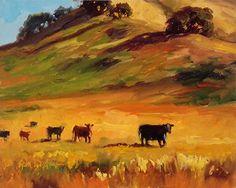 """""""The Cows are Comin' Home""""  by Erin Dertner  Original Oil ~ 8 x 10 #farmanimals"""