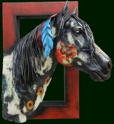 painted war horse pictures | War Paint Mini Quarter Horse Head Sculpture by Andres Martin del ...