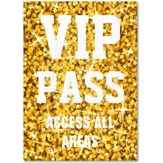 """Glitz """"Gold"""" 'VIP PASS' business card chubby   Zazzle.co.uk"""