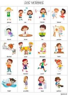 Vocabulaire, les verbes - tipirate French Language Lessons, French Language Learning, French Lessons, Useful French Phrases, Basic French Words, French Flashcards, French Worksheets, French Verbs, French Grammar