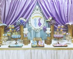 Classy Gender Reveal Party Ideas | Halfpint Design - Prince or Princess? This is a baby shower for boy/girl twins and I LOVE that they used purple and blue instead of the standard issue pink. This would be a fabulous gender reveal if you want to go all out!