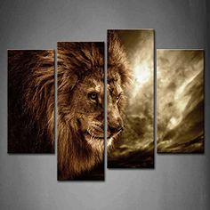 Wall art painting 4 Panel Wall Art Brown Fierce Lion Against Stormy Sky Painting The Picture Print On Canvas Animal Pictures For Home Decor Decoration Gift piece (Stretched By Wooden Frame,Ready To Hang)