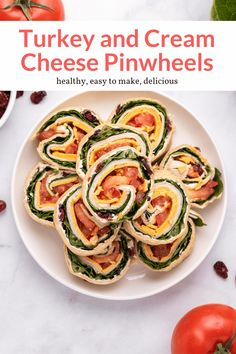 These delicious cream cheese and turkey pinwheels make the perfect make ahead snack, appetizer, or lunch! Sweet and savory with dried cranberries and cheddar cheese. #appetizer #lunch #snack #kidfriendly #makeahead #quickandeasy Quick Healthy Meals, Healthy Appetizers, Good Healthy Recipes, Lunch Recipes, Healthy Snacks, Healthy Eating, Dinner Recipes, Pinwheel Recipes, Pinwheel Appetizers