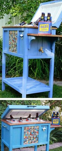 #DIY Cooler Table Great Father's Day Idea & Perfect For Backyard Gatherings!