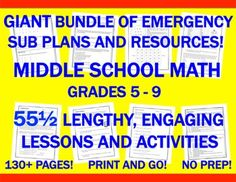 UPDATED AND EXPANDED BUNDLE! NOT JUST FOR SUB DAYS ANYMORE! Are you going to be absent from your Grade 5-9 Math classroom for several days or an even longer indefinite period, or are you simply tired of the standard lessons in your class and looking to spice things up?