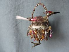 Antique German Glass Christmas Ornament Amazing Birds Nest Circa 1910 -- Antique Price Guide Details Page