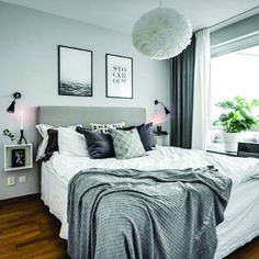 Cozy grey and white bedroom ideas; bedroom ideas for small rooms; bedroom decor on White Bedroom Decor, Room Ideas Bedroom, Cozy Bedroom, Bedroom Colors, Bedroom Apartment, Home Decor Bedroom, Bedroom Wall, Bedroom Furniture, Ikea Bedroom