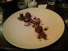 Bacon plum, mashed potatoes and red cabbage soup @ Restaurant Fehrenbach – das kleine Restaurant