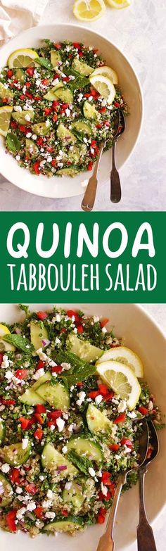Quinoa tabbouleh salad is a gluten free twist on the traditional Middle Eastern dish. It's packed with parsley, mint, red onion, cucumbers, red pepper, and tossed in a simple lemon & olive oil dressing. It's best when made in advance making it perfect for packed lunches or bringing to parties. (Vegetarian & Gluten Free) | robustrecipes.com
