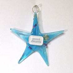 Whimsical Glass Ornament/ Christmas SWEET DREAMS by SusanFayePetProjects #fused glass