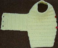 Laid out view of one piece crocheted dog sweater pattern.