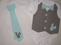 Gray and Aqua Easter Brothers Appliqued Set Tie and Vest with Bow Tie