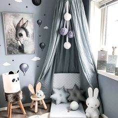 A bit of nursery design inspo via 😍 Grab some star cushions, wall stickers and a nursery canopy from Nordlife and create a dreamy nook of your own ✨ Nursery Nook, Star Nursery, Nursery Decor, Bedroom Decor, Baby Bedroom, Baby Boy Rooms, Kids Bedroom, Kids Room Design, Nursery Design