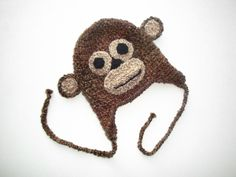 Happy Monkey baby Hat with earflaps winter hat by LaKnitterie, $21.00