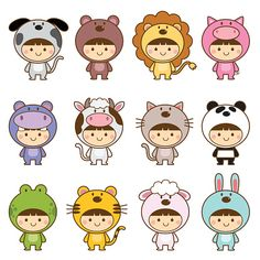 Illustration about Vector illustration set of kids in cute animals costumes. Illustration of clip, carnival, adorable - 69246371 Cute Animal Drawings, Kawaii Drawings, Doodle Drawings, Doodle Art, Cute Drawings, Cute Animal Illustration, Animal Costumes, Pet Costumes, Doodles Kawaii